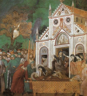 543px-Giotto_-_Legend_of_St_Francis_-_-23-_-_St_Francis_Mourned_by_St_Clare