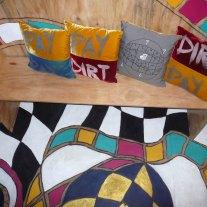 floor pew and screen printed velvet cushions