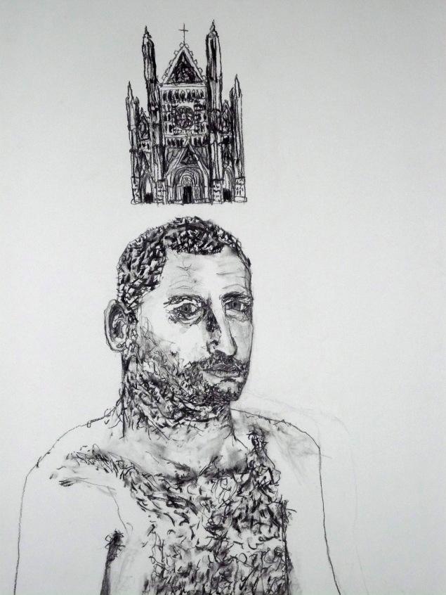 Self Portrait with Orvieto Duomo, Umbria DARKER